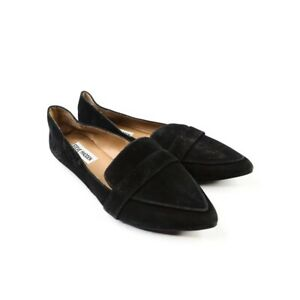 Penny Loafers Black Leather Suede Size