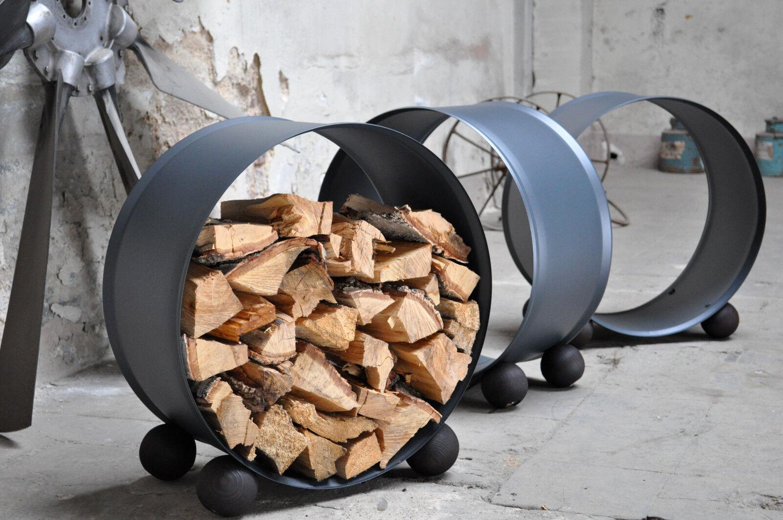 Holzkorb aus 200 Liter Neu Fass mit Kugelfüße aus Holz - Fasskorb