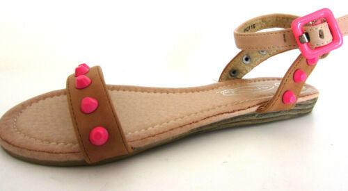 KR Spot On Girls Ankle Strap Sandals Camel H0R116