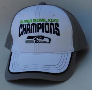 f5cca334c Image is loading SUPER-BOWL-XLVIII-CHAMPIONS-NFL-Seattle-Seahawks -Adjustable-