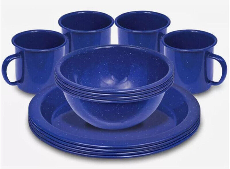 New Campfire12  Pce Enamel Dinner Set Navy bluee Outdoor Camping Camp Kitchen Ware  stadium giveaways