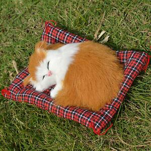 Realistic Sleeping Orange Cat On Mat Fur Kitten In Rug Plush Tabby Toy Garfield Ebay