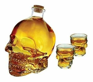 wine-decanter-skull-1-liter-with-shot-glass-3PC-set-paypal-EbayWishlist