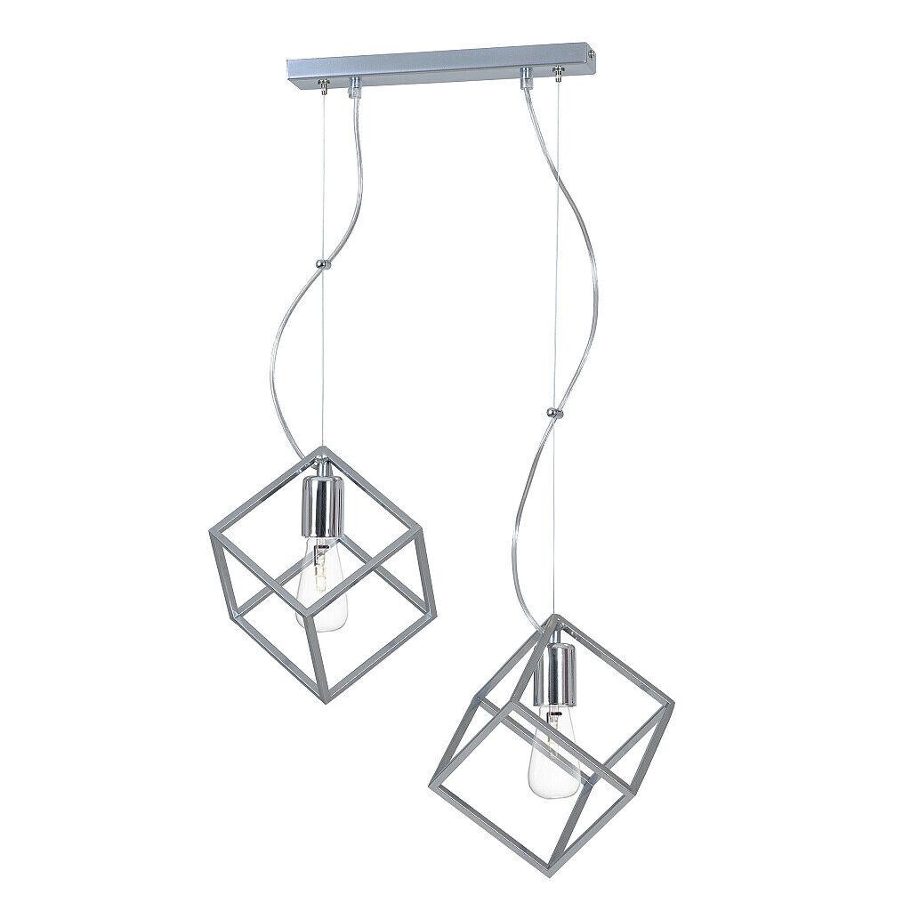 Pendelleuchte Silber Chrom Modern Design stylisch GEO Esszimmer Leuchte Hängend