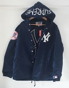e6a65e9e40b SUPREME x NEW YORK YANKEES BASEBALL Hooded Jacket in Blue. Size ...
