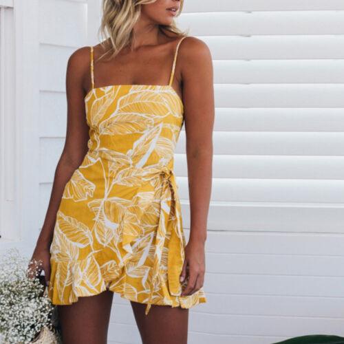 Damen Sommer Mini Kleid Strandkleid Overall Jumpsuit Playsuit Hosenanzug Shorts