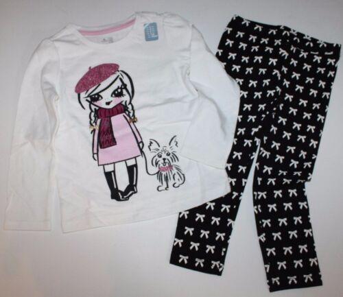 baby Gap NWT Girls Outfit Set Glittered Girl Walking Dog Top /& Bow Leggings