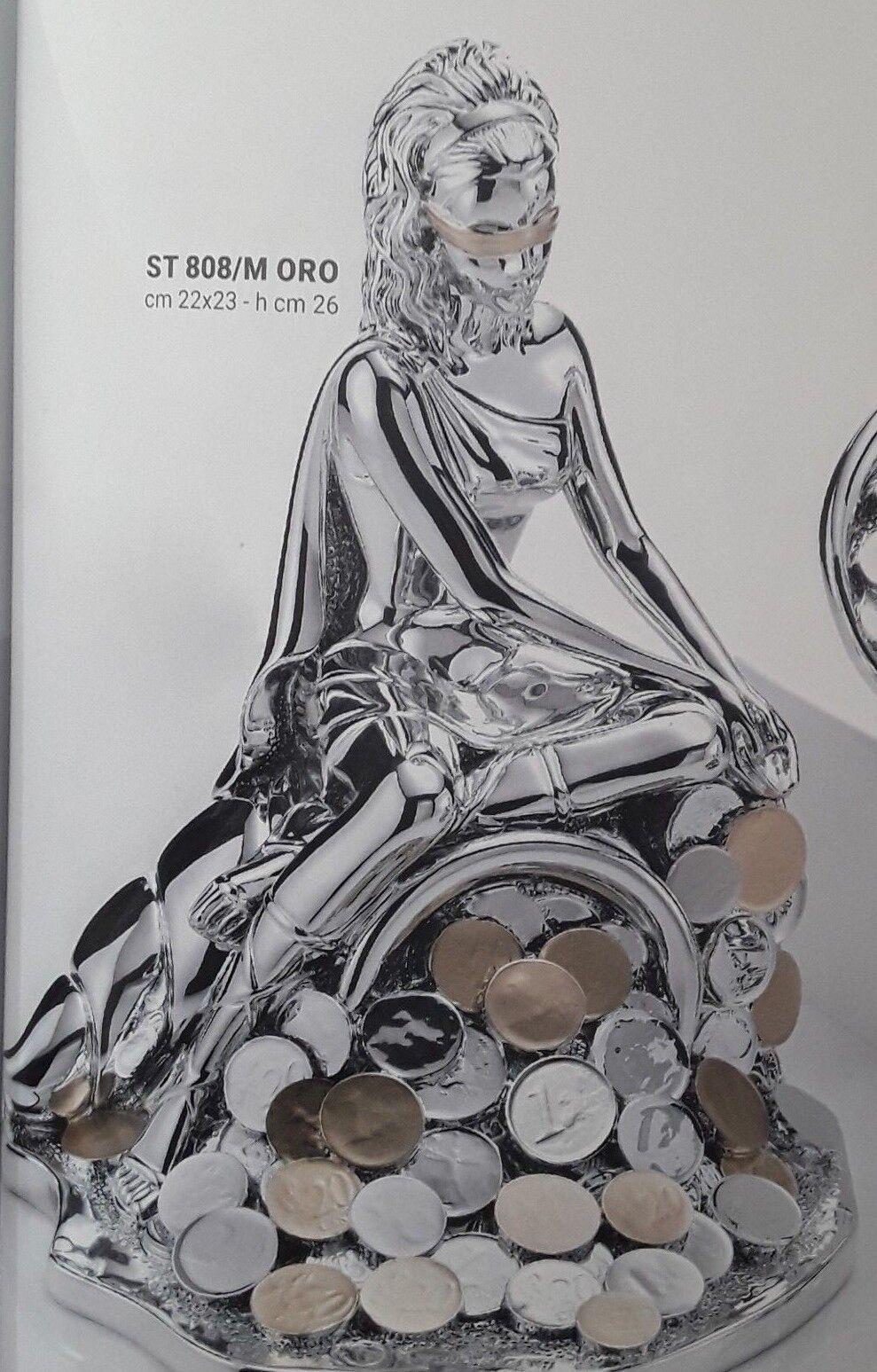 DEA BENDATA SEDUTA SU CORNUCOPIA SOLDI COL Gold REGALO CM 22X23X26H ST 808 M Gold