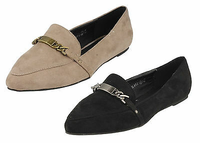 F80042 LADIES SPOT ON CASUAL METAL TRIM VAMP  FLAT SHOES WITH POINTED TOE