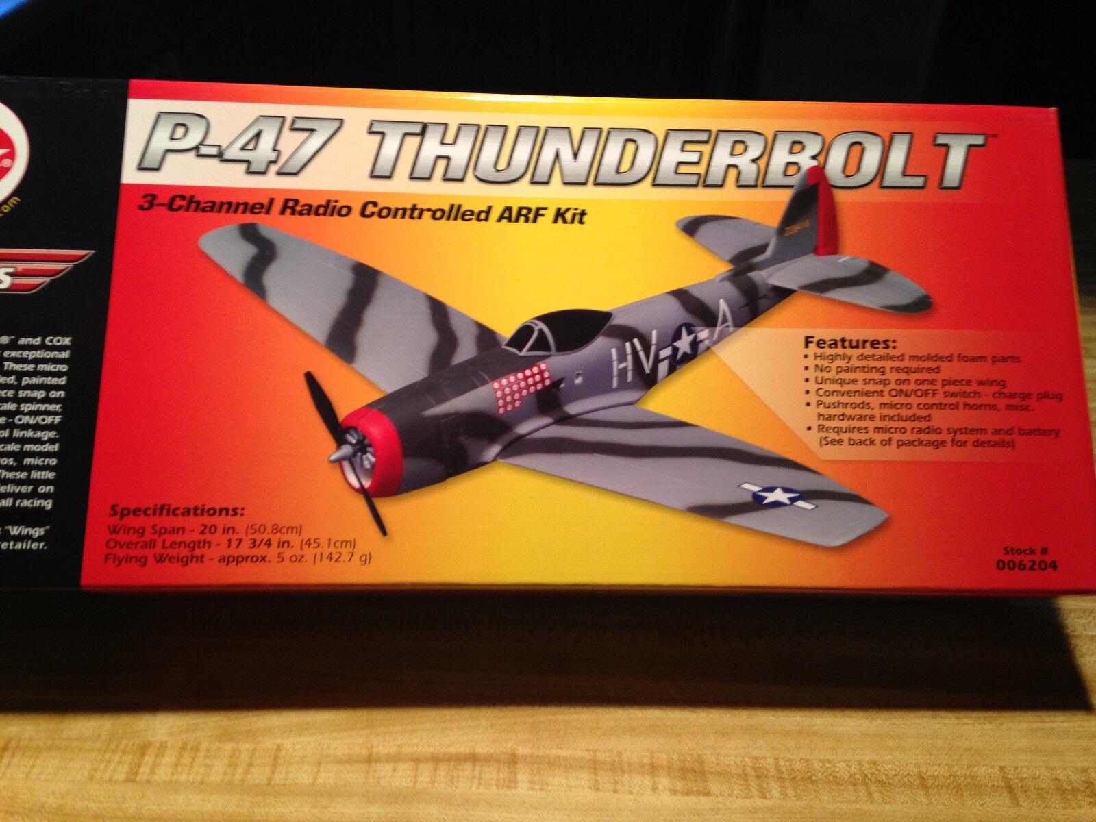 Nuevo R c Cox alas P-47 Warbird ARF Kit Con Motor-UMX Plano De Tamaño