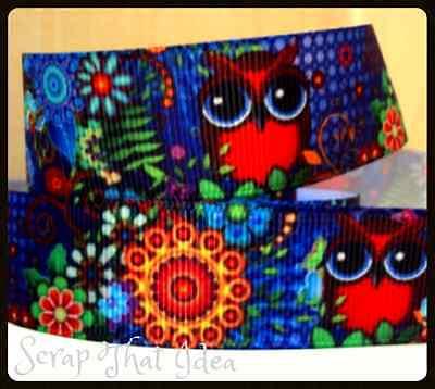 """OWL Ribbon.  7/8"""" Printed Grosgrain. BOHO.  Scrapbooking/Craft. Red Bird, Animal"""