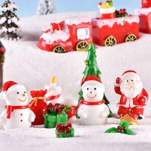Christmas-Miniature-Santa-Claus-Snowman-Sled-Reindeer-Figurines-Snow-Landscap-ti