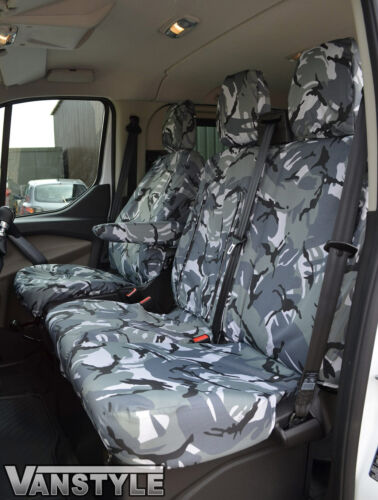GREY CAMO WATERPROOF TAILORED FRONT SEAT COVERS 1+2 FORD TRANSIT CUSTOM 2018