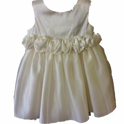 Cheap Sale M&s Christening Communion Baby Girl White Dress Floral Trim Lace Mesh 0-3 Months Pleasant In After-Taste