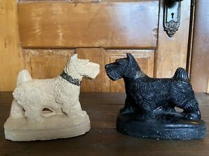 Vintage-Chalk-Ware-Carnival-Scottie-Dog-Scottish-Terrier-LOT