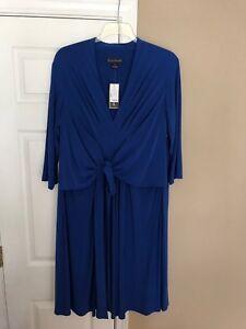 Jessica-Howard-Woman-s-front-knot-jersey-Dress-Plus-Sz-18W-Royal-Blue-NWT