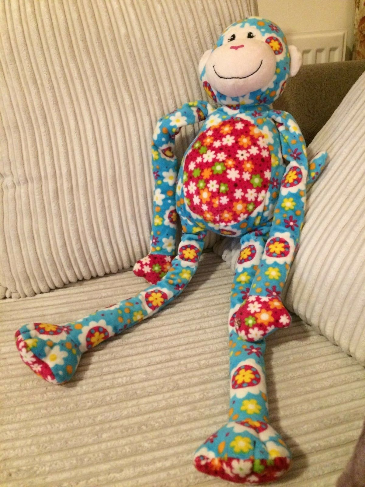 MARY MEYER SOFT TOY FLORAL MONKEY  27 INCHES