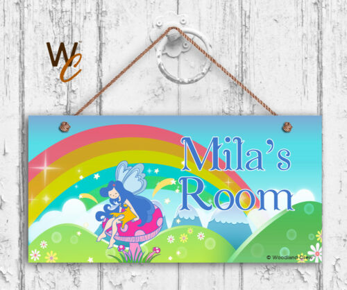 Fairy Sign Personalized Kids Door Sign Kids Name Rainbow 5x10 Sign