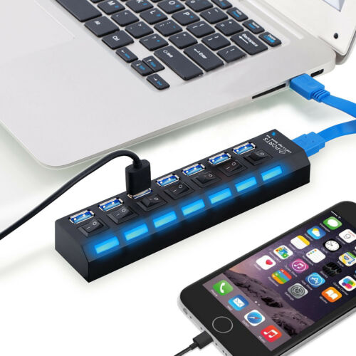 7Ports Hub USB 3.0 Socket High Speed with Switch for Computer US STOCK