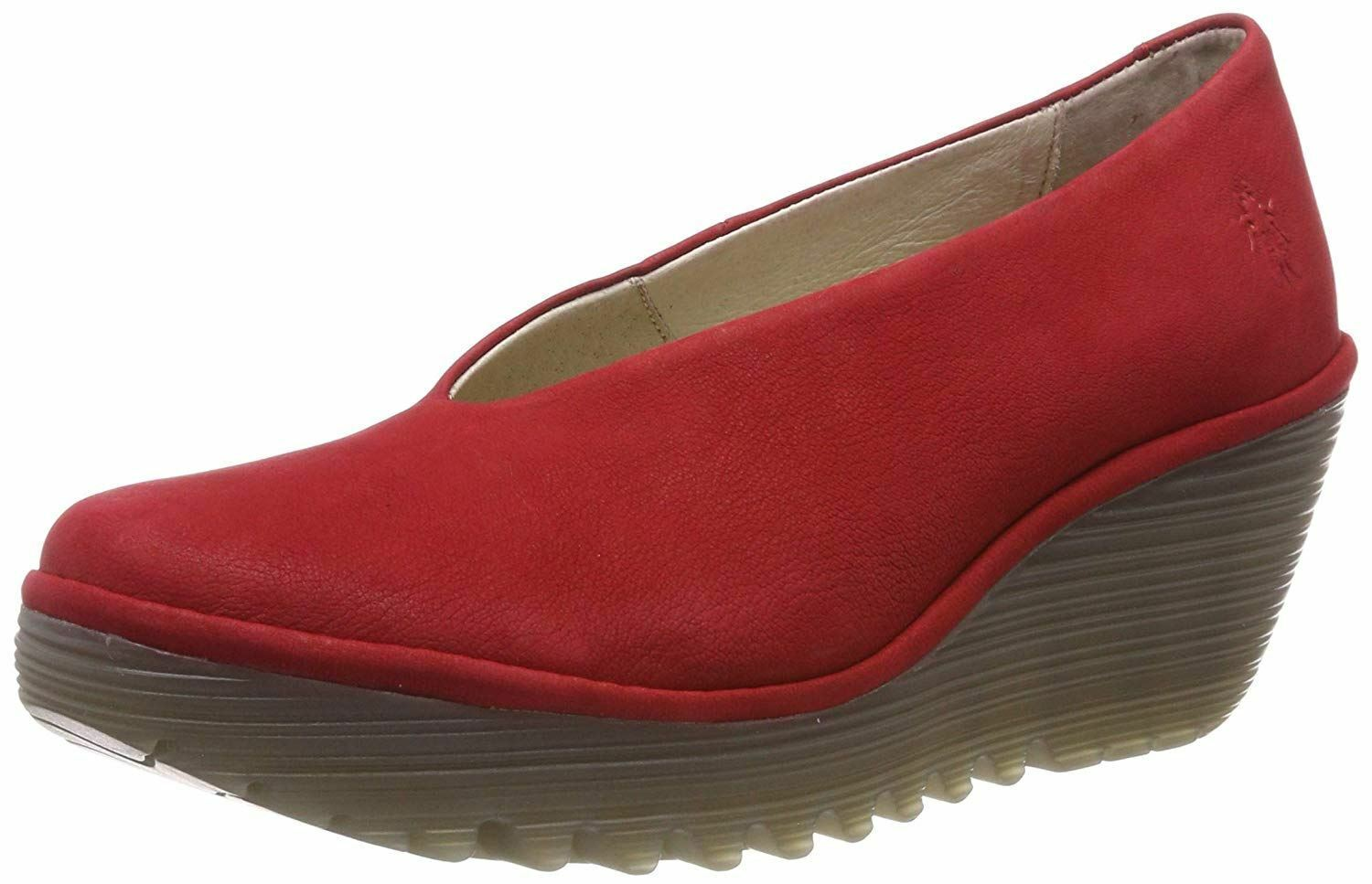 Fly London Yaz Red Leather Womens Wedge shoes
