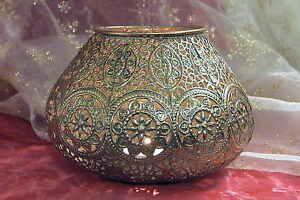 Grosses Orientalisches Windlicht Teelichthalter Metall Teelicht Gold