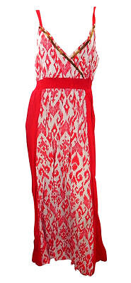 BHS Plus Size Cherry Red Crinkle Cotton Strappy Maxi Dress with Print Front