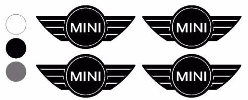 "4X MINI LOGO WING JCW COOPER WORKS VINYL DECALS STICKERS R53 R56 WHITE 2/""X0.9"""