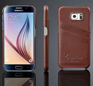 buy popular d2920 491d4 Details about Samsung Galaxy S6/Edge+S5 Note 4 Phone Genuine Leather Back  Case Card Cover New