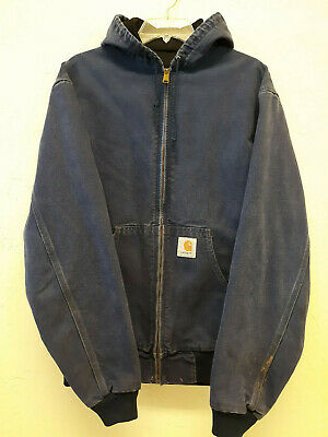 Vintage Carhartt Zip Up Bomber Denim Jacket Size LT USA ...