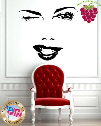 Wall Stickers Vinyl Decal Fashion Hot Charming Winking Girl Spa Hair Salon z004