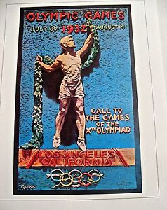 Olympic-Games-1932-Los-Angeles-USA-Official-Poster-Reprint-16x12-Offset-Litho