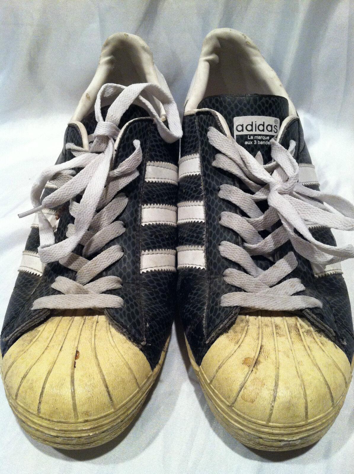 Chaussures de tennis en cuir noires Adidas, baskets, 3 bandes, US 10.5 très collectionneurs