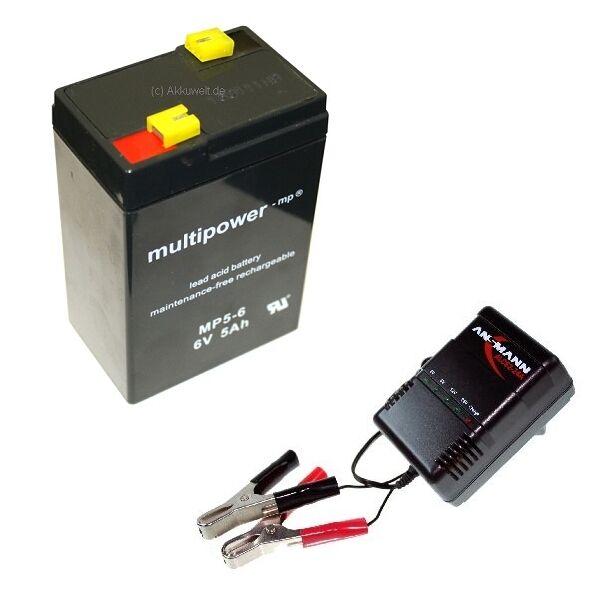 Ladegerät + BLEI GEL ACCU 6V 5Ah Halogenlampe Staubsauger 4,5Ah Aku Akku Battery