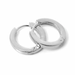 925 Sterling Silver 16mm Heavy Hinged Sleeper Creole Hoop Earrings