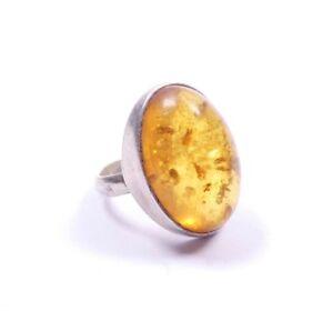 Anillo-Solitario-Vintage-Ambar-plata-esterlina-grande-de-925-6-6g