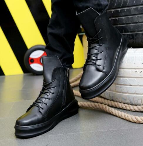 Mens High Top Breathable Sneakers Lace Up Heel Ankle Boots Shoes Zipper Zsell