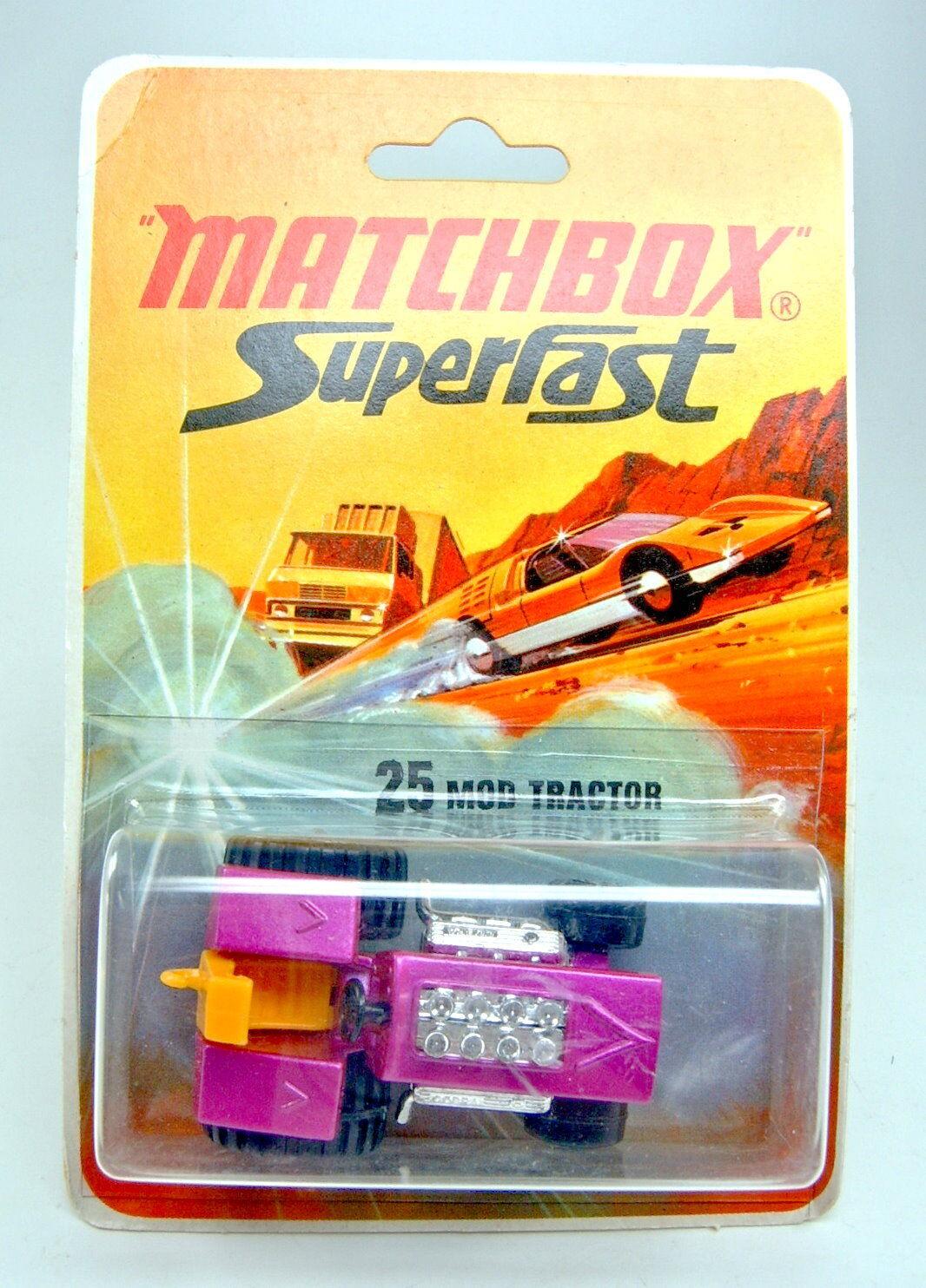 Matchbox SF No 25b Mod Tractor PURPLE METALLIC ON RARE Blister Card