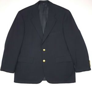 Brooks-Brothers-Blue-Blazer-42S-Navy-Gold-Toned-Metal-Buttons-Wool-346-Mens-Size