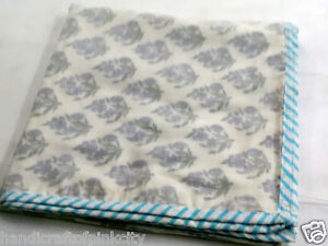 Queen-Size-Voile-Cotton-White-Hand-Block-Print-AC-Quilt-Dohar-falalin-NJUGDFJ23