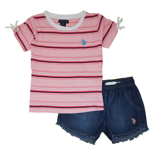 US Polo Assn Girls Pink Top 2pc Denim Short Set Size 2T 3T 4T 4 5 6 6X 7 8 10 12