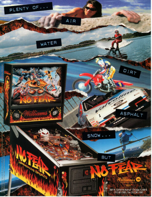 No Fear 1995 Williams Pinball Flyer