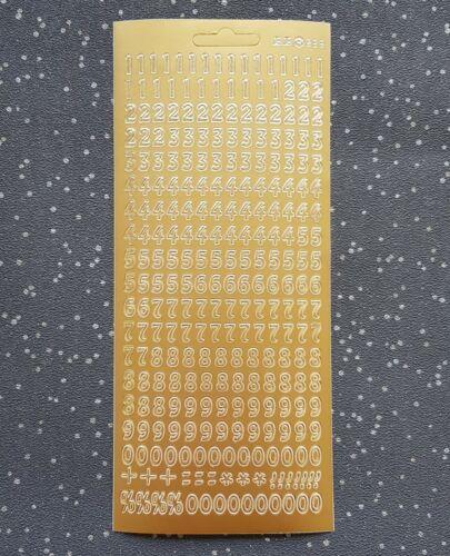 Modern Numbers Gold Silver Peel Off Sticker Sheet Card Making Scrapbook Craft