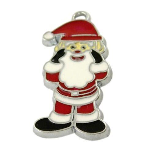 5 piezas de Santa Claus Papá Noel Navidad Charm Colgantes-A0607
