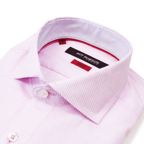 RRP £65 Roy Robson 15//38 Pink /& White Micro Check Slim Fit Shirt