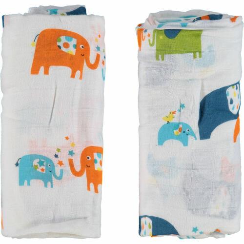 2X ANGEL DEAR Elephant Print Soft Swaddle Blanket Muslin 47/'/'x47/'/' 120cmx120cm