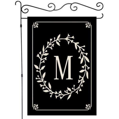 "26 English Alphabet on Black 12/""x18/"" Garden Flag House Yard Banner Single Side"