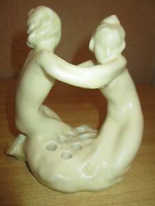 Rookwood-Pottery-Two-Nudes-Flower-Frog-dated-1927-2338-Art-Deco-Marked-amp-Dated