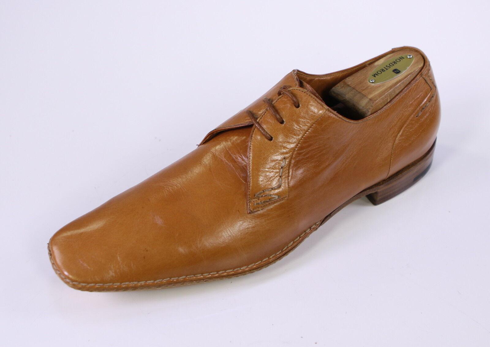 NIB New New New SILVANO LATTANZI Caramel Brown Leather Oxford Dress shoes US 9 d99781