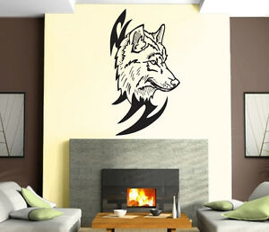 Wolf Wall Art wolf head predator aggressive tribal mural wall art decor vinyl