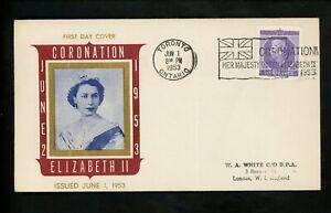 Postal-History-Canada-FDC-330-Unknown-QEII-Coronation-1953-Toronto-ON